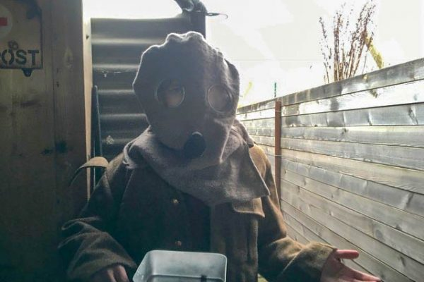 Journey project - standing at first aid post with gas mask on